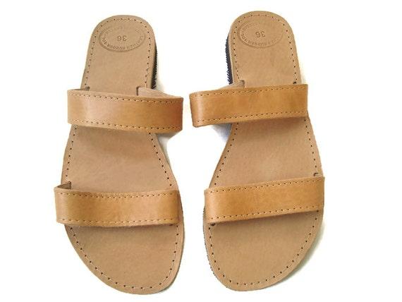 sandals leather sandals Brown sandals Leather sandals sandals Natural Greek Womens leather flats Summer Greek sandals Xqd4d