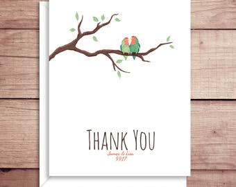 Love Birds Note Card - Bridal Thank You - Love Birds Thank You Note - Folded Note Cards - Wedding Thank You
