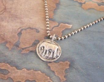 Silver Elephant Necklace, Animal Jewelry, Good Luck Charm, Talisman, Wax Seal Elephant