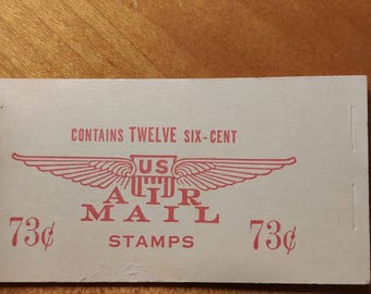 US Postage Air Mail Six-Cent Stamps Booklet of 12 Stamps WWII Era Aviation Theme