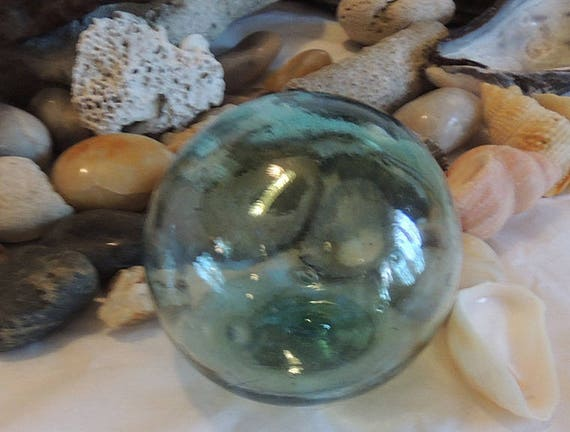 Vintage Japanese Glass Fishing Float.. Small 2.5 Inch.. Very Rare Makers Mark (#7)
