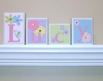 Nursery Name Decor . ROUTED EDGE . Baby Name Decor . Name Blocks . Childrens Rom Decor . M2M Wildflower Bedding