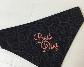 Best Dog Dog Bandana, Reversible Dog Bandana, Wedding Dog Bandana, Personalized Dog Bandana, Custom Dog Bandana, Slide on Dog Bandana