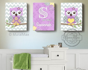 Girls wall art - Baby Nursery Decor ,OWL canvas art,  Owl Canvas Set, Woodland nursery art , Owl prints for nursery, Purple and gray