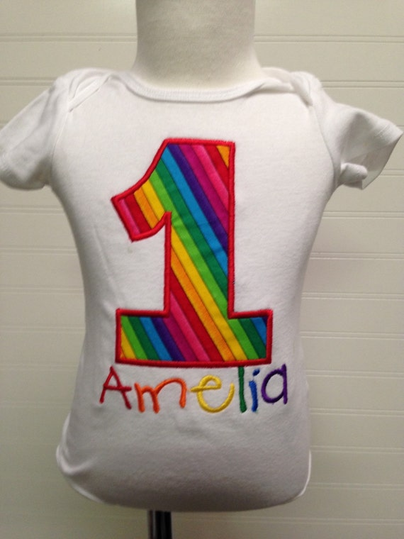 Rainbow birthday, girls 1  2 3 4 5 birthday shirt, rainbow birthday,monogram, embroidered, circus theme birthday, multicolored birthday