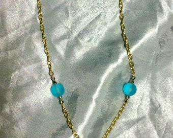 Gold chain leather tassel necklace with aqua druzy and glass beads