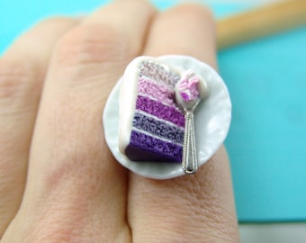Cake Jewelry // Purple Ombre Cake Ring // Adjustable Ring // READY TO SHIP