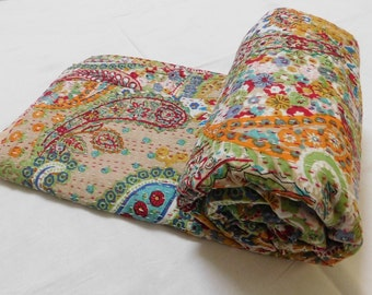 Indian Handmade Paisley Print Kantha Bedspread Queen Size Cotton Blanket