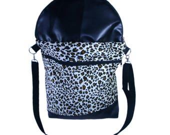 Fold Over Shoulder Bag - Leopard Print / Black