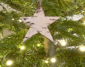 White Birch Bark Star Shaped Ornament