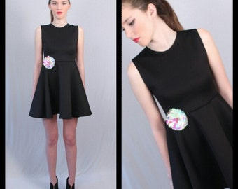 MADE TO ORDER Little Black Baby Doll Dress with Crystal Flower Magnet Pin