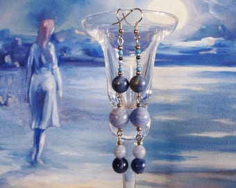 Earrings with chalcedony and very long society