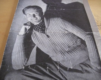 1 Patons  & Baldwin 1940's original  pattern 834 mans  cardigan with zip. Stripe effect stitch.  Stock ref KP165