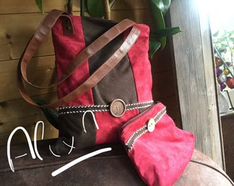 Shoulder bag & pouch in red and Brown patchwork