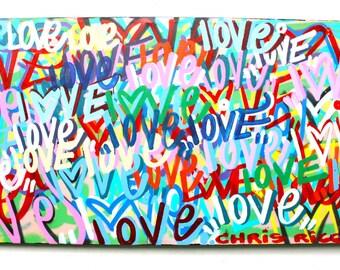 FREE SHIPPING abstract love street art canvas fine art acrylic spray paint graffiti art