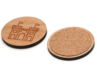 Sandcastle Wooden Coasters Set of 4, Gifts For Him, Wedding Gifts, Groomsman Gifts, and Personalized