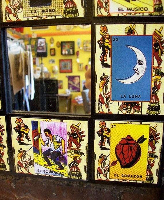 Loteria wall mirror retro Spanish pop culture Mexico style