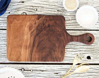 Walnut Cutting Board Paddle - Bread Board, American Black Walnut, Made in USA, Serving Meat & Cheese Board, Butcher Block, Chopping Board