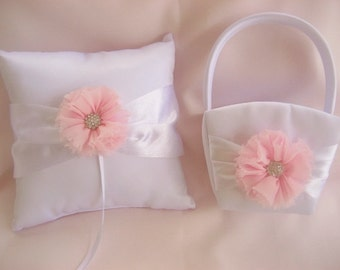 Flower Girl Basket, Ring Bearer Pillow,  Pink and White Shabby Chic Wedding Basket and Pillow  Ivory or White