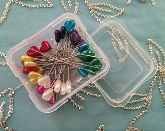 Heart Multi-COLOR Pearlized Pins, DRITZ, Sewing Notion, New, 35 Count Pins in clear box, rainbow colors heart pins