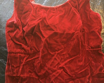 Vintage Red Velvet Wiggle Dress // S-M > Mid-Century > working metal zipper > silky, luxurious fabric > as is