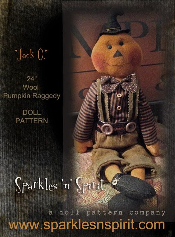 "Pattern: Jack O - 24"" Pumpkin Raggedy Doll"