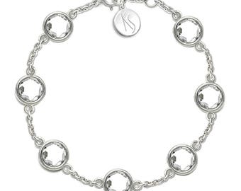White Topaz Bracelet, 925 Sterling Silver. , color white, weight 7.2g, #46646