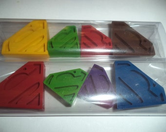 4 Superman Superhero Coloring Crayons - Childrens party bag favours, fillers