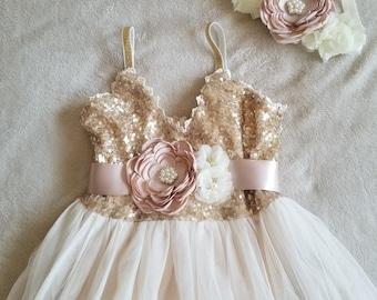 Gold Ivory cream Flower Girl Dress - champagne satin ribbon/ Champagne flowers belt Style FG0012