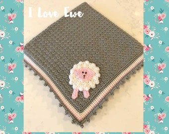 I Love Ewe Crocheted Baby Blanket