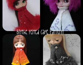 pdf knitting pattern - Felted cape for Blythe