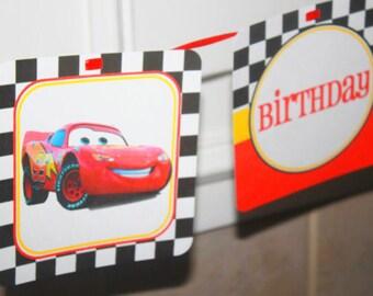 Cars Birthday Banner, Lightning McQueen Birthday Party Banner, Mater Birthday Banner, Birthday Party Banner