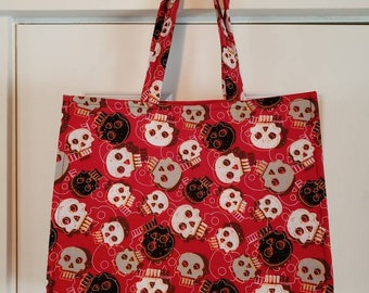 Skulls Reusable Shopping bag, Reusbale Shopping Bag, Skulls Bag, Reusable Grocery Bag, Skulls Grocery Bag, Washable Shopping Bag, Skulls