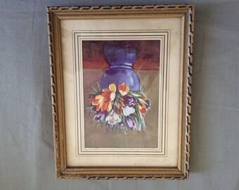 Vintage Framed Floral Vase Painting Print