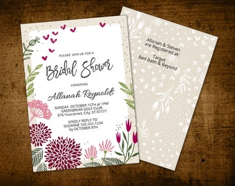 Bridal Shower Invitation Instant Download Printable PDF Template Watercolor Floral Marsala Burgundy Wine (5x7 - 2 sides)