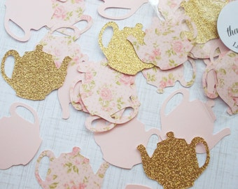 Tea Party Decoration, Glitter Gold & Blush Pink Floral Teapot Confetti, Table Confetti 70 CT.