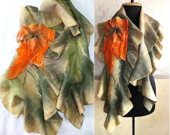 natural wool felt silk scarf, nuno felt scarf, boho chic, green scarf women, gift for mom, felted scarf, handmade wool scarf, orange brooch