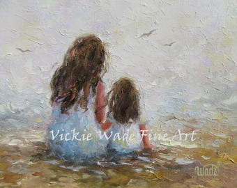 Mother Daughter Art Print, mother paintings, mom, two sisters, big sister, mother's day gift, girls room, blue gray wall decor, Vickie Wade