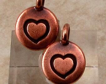 Small Heart Charm, Antique Copper, TierraCast, 2-Pc. TC86