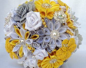 Brooch bouquet, Fabric bouquet, Wedding Bouquet, yellow bouquet, silver and white bouquet, 7 inches