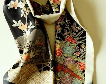 Japanese silk kimono scarf | 146 | Hand made from vintage kimono fabrics