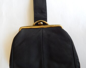 1950's Black Fabric Wristlet by Julius Resnick