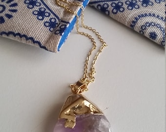 Natural Lilac MAUVE  AMETHYST RAW Crystal Pendant / Gemstone Pendant / Metalwork