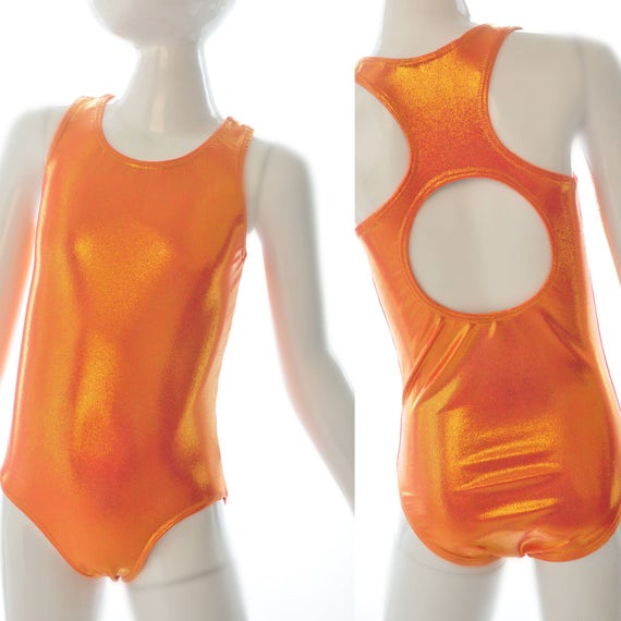 Girls Swimsuit. Metallic Orange Racer Back Bathing Suit, With Open Back. One Piece Swimsuit, Gymnastics, Dance and Swimwear