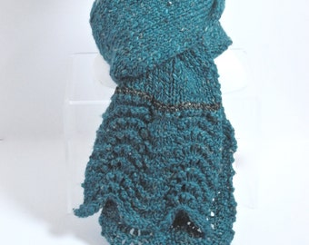 Wool Alpaca Scarf in Teal Tweed