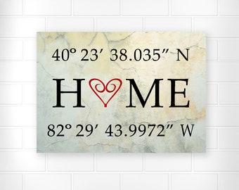 Home Wall Art - Longitude Latitude - Home Sweet Home - Wall Art