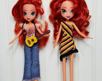 2 My Little Pony Equestria Girls Doll Sunset Shimmer OOAK Set/Pair Recycle Rescue Doll Under Made Make Over