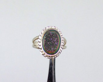 Druzy Quartz Ring, Sterling Silver Druzy Quartz, Quartz Ring, Ladies Quartz Ring, Under 75, Size 7, Gift for Her, Quartz Jewelry, 1626
