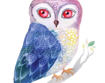Blue Winged Owl - archival art print watercolor gouache painting print reproduction