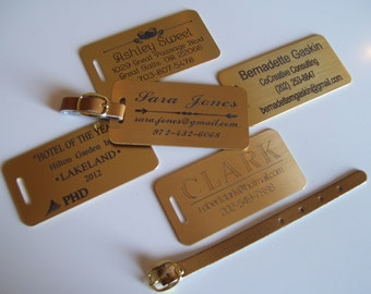 Engraved BRASS Luggage Tag Custom Engraved Personalized with Choice of Decoration Line Pair (2)